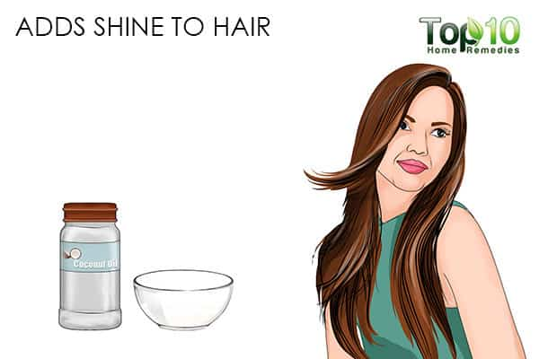 adds shine benefits of using coconut oil on hair