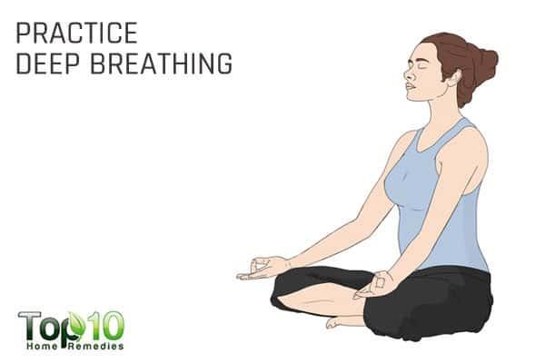 practice deep breathing to reduce high blood pressure