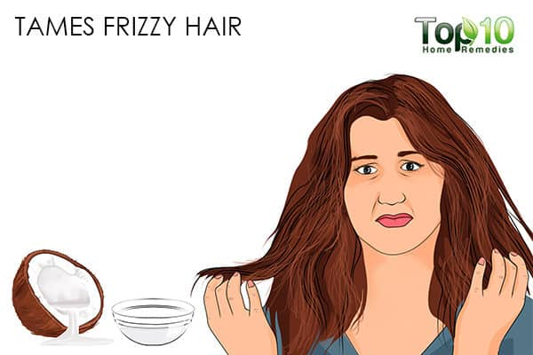 tames frizzy hair benefits of using coconut oil on hair
