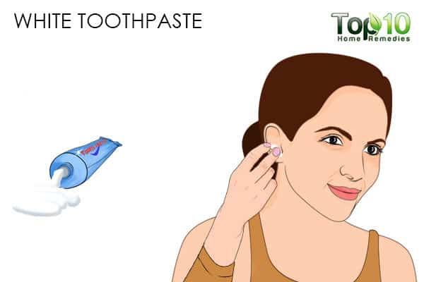 white toothpaste for pimples on the ear