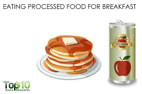 eating processed foods for breakfast causes weight gain