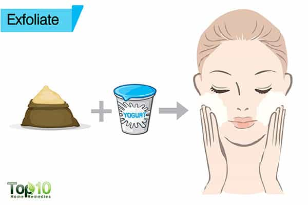 exfoliate to remove suntan from face