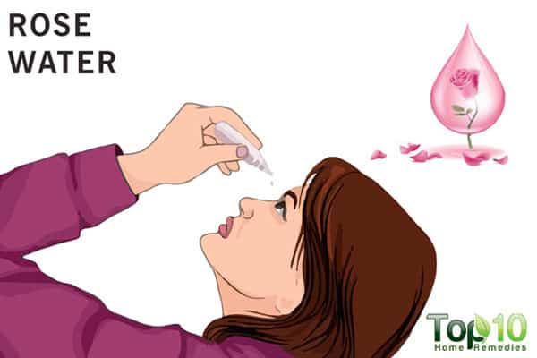 rose water for eye pain