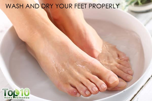wash and dry feet properly