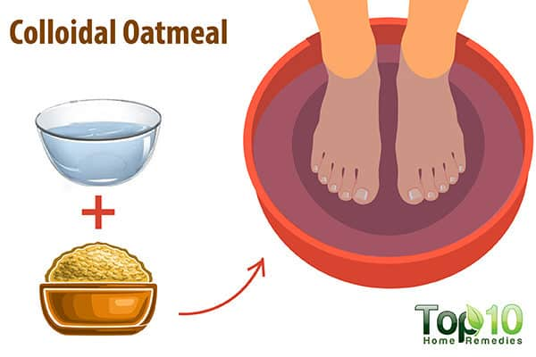 colloidal oatmeal to reduce itchiness on feet