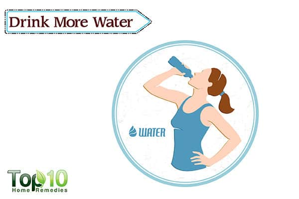 drink more water to reduce eye redness