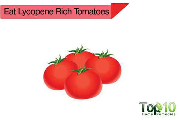 lycopene rich tomatoes preven and treat suntan