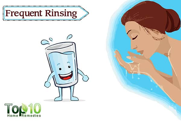 rinse eyes frequently to treat redness in eyes