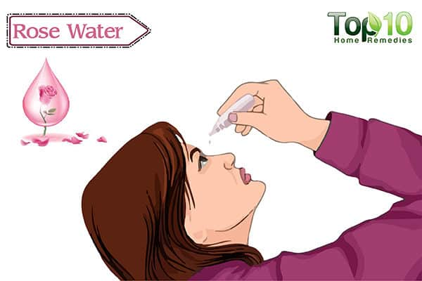 rose water to soothe red eyes