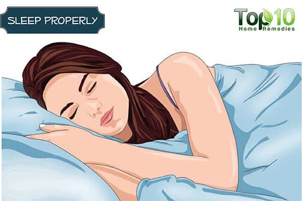 sleep properly to reduce bags under eyes