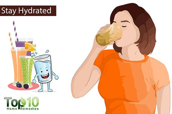 stay hydrated to deal with pregnancy edema on feet