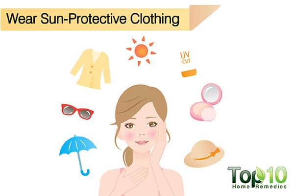 wear sun protective clothing to avoid skin darkening in the sun