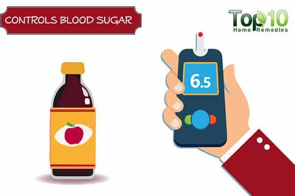 apple cider vinegar controls blood sugar to control belly fat