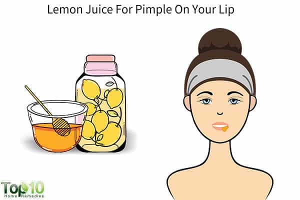 lemon juice for pimple on lips
