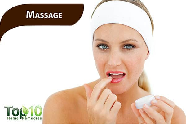 massage dark upper lip