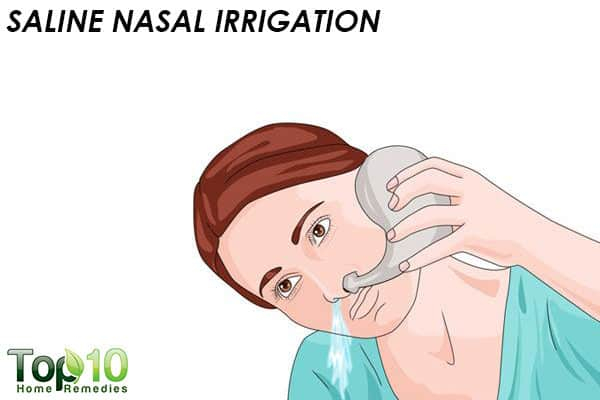 saline nasal irrigation to relieve head cold
