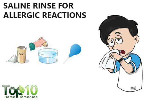 saline rinse to ease allergic reaction