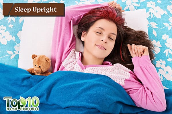 sleep upright to reduce dry coughing
