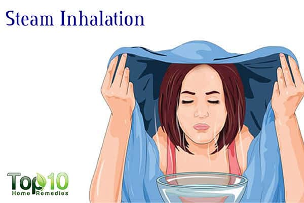 steam inhalation to drain sinuses