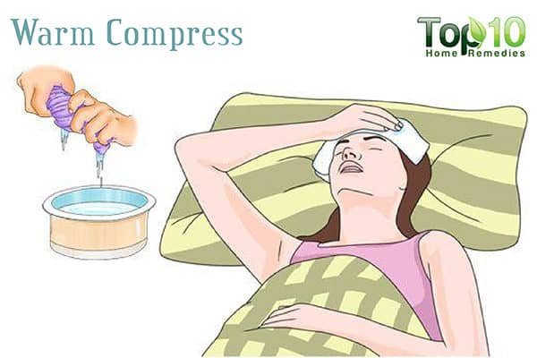 warm compress to drain sinuses