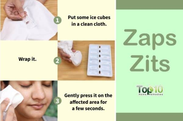 ice cubes to zap zits
